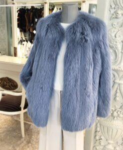 Jaqueta de renard blau sense coll